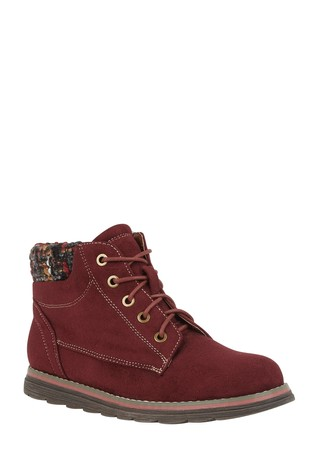 Lotus Footwear Burgundy Lace-Up Ankle Boots