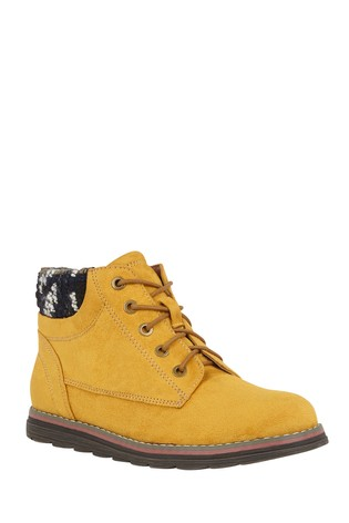 Lotus Footwear Yellow Lace-Up Ankle Boots