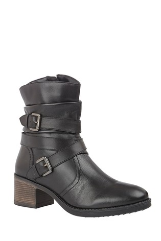 Lotus Footwear Black Leather Ankle Boots