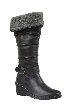 Lotus Footwear Black Leather Knee High Boots