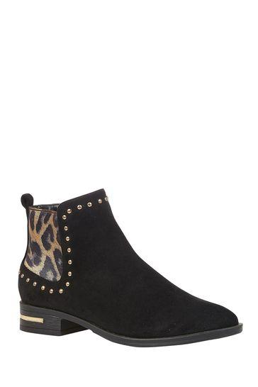 Lotus Footwear Black Leopard Studded Ankle Boots