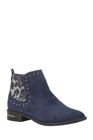 Lotus Footwear Navy Studded Ankle Boots