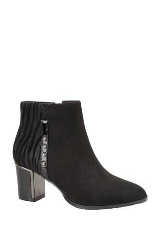 Lotus Footwear Black Block Heel Ankle Boots