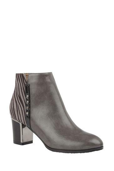 Lotus Footwear Grey Block Heel Ankle Boots