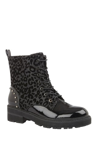Lotus Footwear Black Lace-Up Ankle Boots