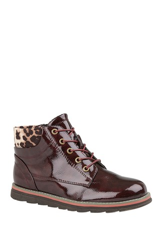 Lotus Burgundy Lace-Up Ankle Boots
