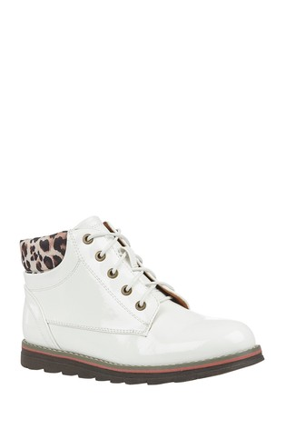 Lotus White Lace-Up Ankle Boots