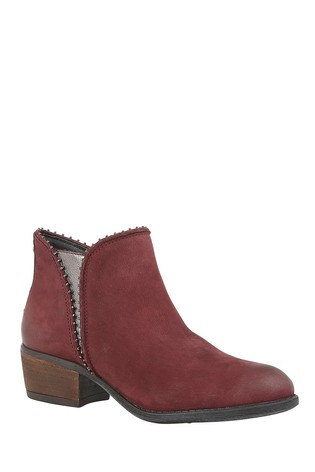 Lotus Red Printed Leather Ankle Boots
