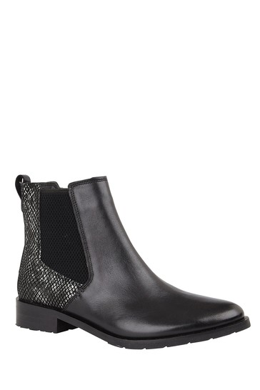 Lotus Black Printed Leather Ankle Boots