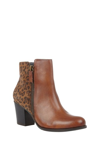 Lotus Brown Printed Leather Ankle Boots
