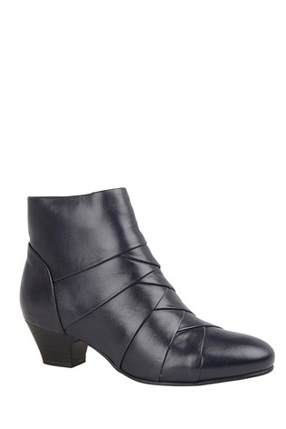Lotus Footwear Navy Leather Ankle Boots