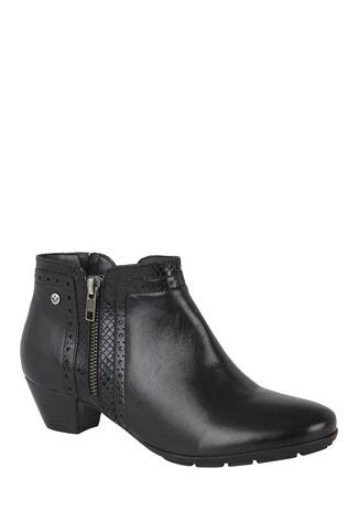 Lotus Footwear Black Leather Block Heel Boots