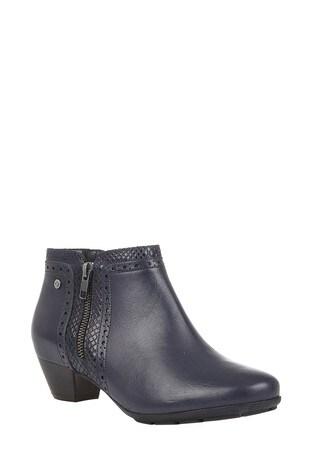Lotus Footwear Navy Leather Block Heel Boots