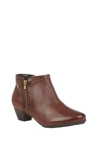 Lotus Footwear Brown Leather Block Heel Boots