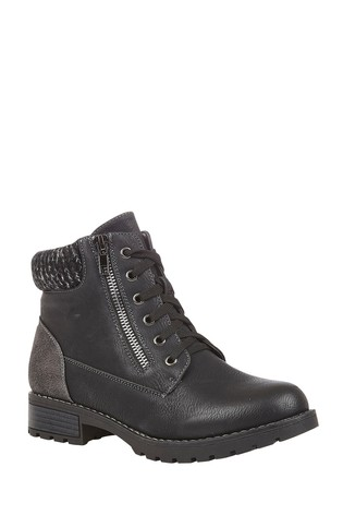 Lotus Black Lace-Up Ankle Boots