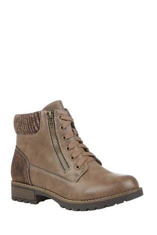 Lotus Brown Lace-Up Ankle Boots