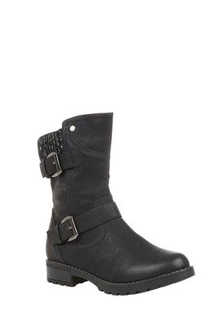 Lotus Black Mid Calf Boots