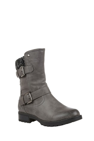 Lotus Grey Mid Calf Boots