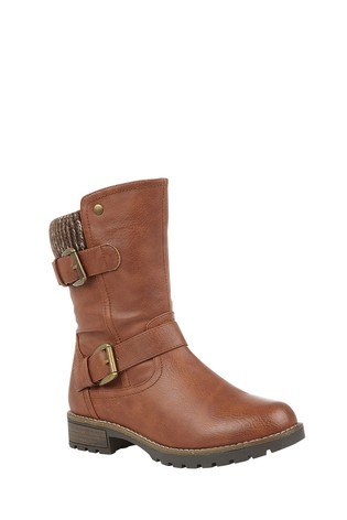 Lotus Brown Mid Calf Boots