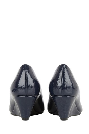 Lotus Navy Crinkle Shiny Wedge Shoes