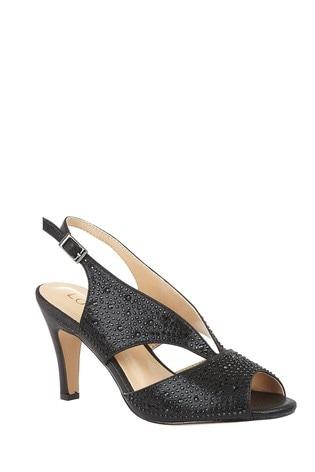 Lotus Footwear Black Diamante Open Toe Shoes