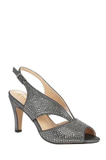 Lotus Footwear Grey Diamante Open Toe Shoes