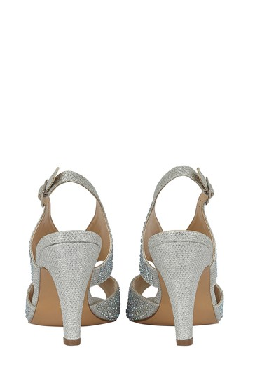 Lotus Silver Diamanté Open Toe Shoes