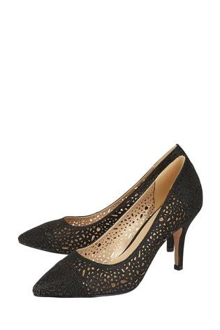 Lotus Footwear Black Shimmer Textile Court Shoes