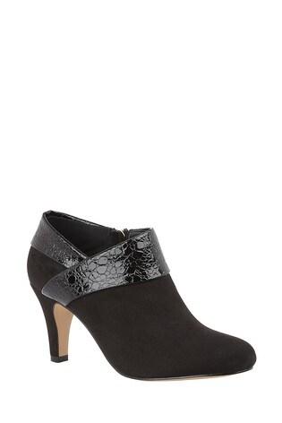 Lotus Footwear Black Reptile Print Shoe Boots