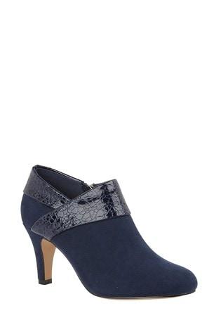 Lotus Footwear Navy Reptile Print Shoe Boots