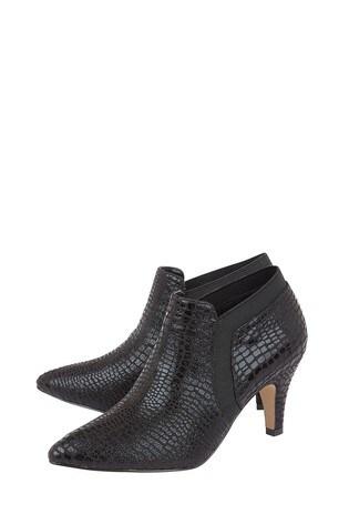 Lotus Footwear Black Pointed Toe Shoe Boots