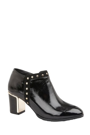 Lotus Footwear Black High Shine Shoe Boots