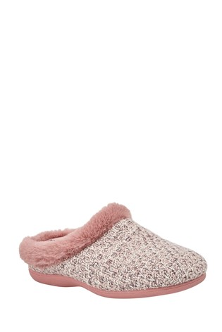 Lotus Footwear Pink Textile Knitted Slippers