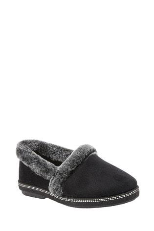 Lotus Footwear Black Textile Slippers