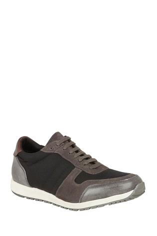 Lotus Black Leather Casual Lace-Up Trainers