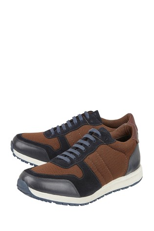 Lotus Brown Leather Casual Lace-Up Trainers