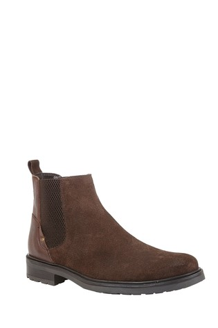 Lotus Footwear Brown Suede and Leather Slip-On Ankle Boots