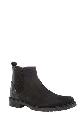 Lotus Footwear Black Suede and Leather Slip-On Ankle Boots