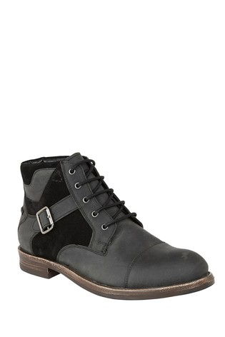 Lotus Footwear Black Leather and Suede Lace-Up Ankle Boots
