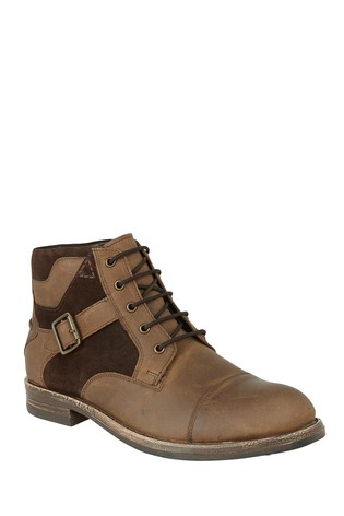 Lotus Footwear Brown Leather and Suede Lace-Up Ankle Boots