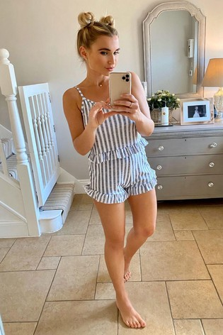 In The Style Billie Faiers Frill Hem Top And Shorts Pyjama Set
