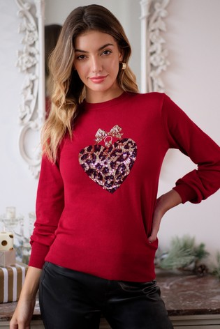 Lipsy Christmas Red Crew Neck