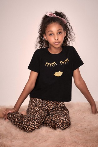 Lipsy Girl Black/Leopard Short Sleeve Long Leg Pyjama Set