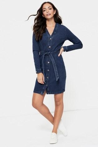JDY Blue Denim Belted Shirt Dress
