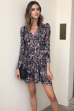 Lipsy Monochrome Puff Sleeve Wrap Dress