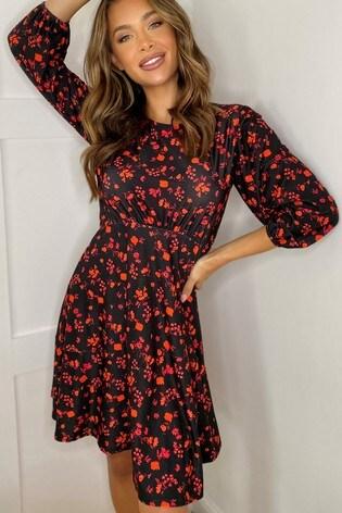 Lipsy Black Frill Hem Mini Dress