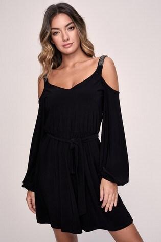 Lipsy Black Embellished Strap Dress