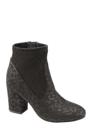 Ravel Black Leopard Print Ankle Boots