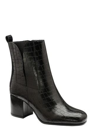 Ravel Black Croc Print Leather Ankle Boots