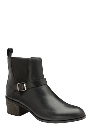 Ravel Black Leather Ankle Boots